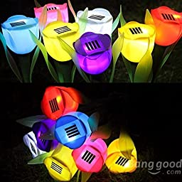 Saver 8Pcs/lot Solar LED Tulip Landscape Flower Lights Outdoor Yard Garden Lamps