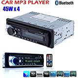Masione Bluetooth Car Audio Stereo 1 DIN In Dash 12V Fm Receiver with USB Mp3 Radio Player & USB SD Input AUX Receiver + Remote Control