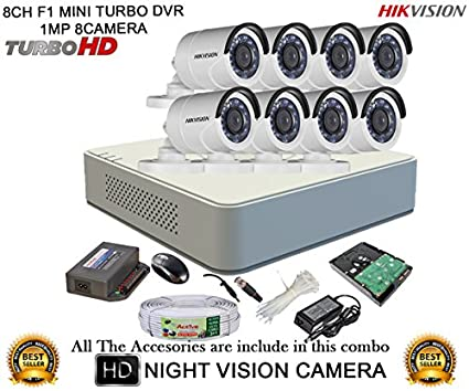 Hikvision DS-7108HGHI-F1 Mini 8CH Dvr ,8(DS-2CE16COT-IR) Bullet Camera (With Mouse, 1TB HDD, Bnc&Dc Connectors,Power Supply,Cable)