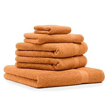 Lot de 5 5 serviettes premium couleur orange qualit 470 g m g m 1 drap de for Serviette de toilette haute qualite