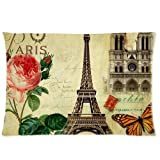 Vintage Paris Eiffel Tower Notre Dame Butterfly Floral Pillowcase Rectangle Zippered Two Sides Design Printed 16x24 pillows Throw Pillow Cover Cushion Case Covers