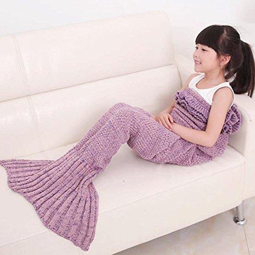 Caldo e Morbido per bambini maglia sirena coperta sacco a pelo letto divano salotto Falbala coperta per tutte le stagioni Lavender