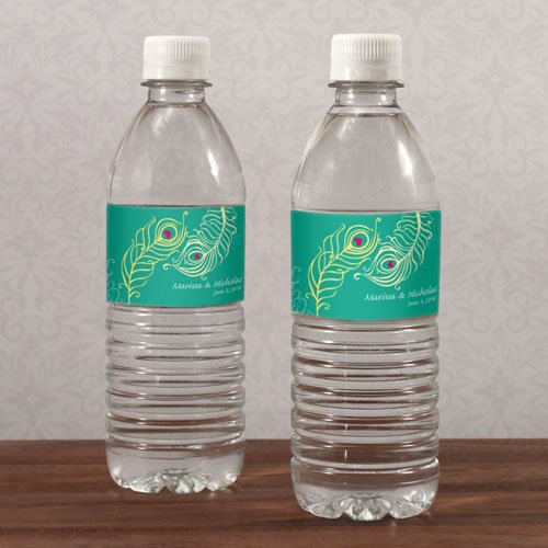 20PC 1049-13WS Perfect Peacock Water Bottle Label Lavender,Pastel Pink,Red,Lemon