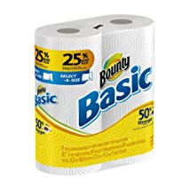 Bounty Basic Paper Towels 2 Select A Size Large Rolls (Pack of 12)