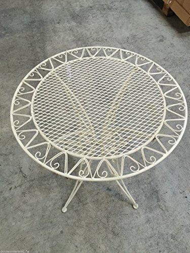 Gartenmöbel Tisch Weiß Schmiedeisen Bistrotisch Gartentisch Antik Stil DM 70cm
