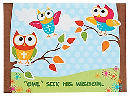 Inspirational Owl Sticker Scene (1 Dozen) School Supplies/Religious Class - 1
