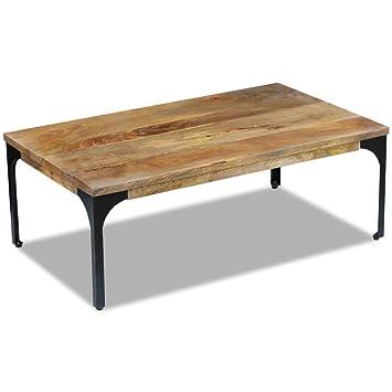 vidaXL, mesa baja para salón, mesa auxiliar en madera de mango, 100x 60x 35cm (L x F x A).
