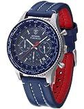 DeTomaso SL1624C-BL - Reloj para hombre con correa de cuero azul