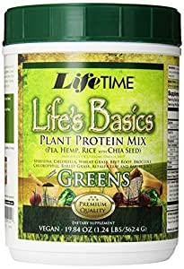 Lifetime Life's Basics Plant Protein with Greens,  19.84-Ounces Tub