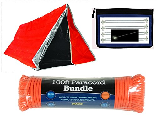 VAS-82-X-36-Aluminum-Coated-Interior-Thermal-Emergency-Tube-Tent-Kit-100-Blaze-Orange-550-Paracord-8-Glow-int-the-Dark-10-Steel-Tent-Stakes-w-Handy-Bag