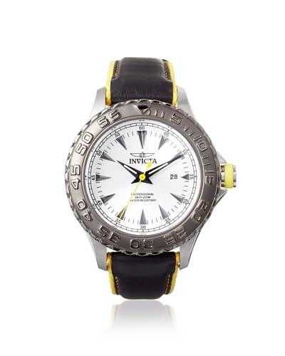 Invicta Men's 12614 Pro Diver Black/Yellow/Silver Leather Watch