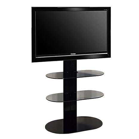 """L&C Totem 1500 Base Supporto per TV da 40"""" a 55"""", 150 cm, Nero Raggrinzito"""