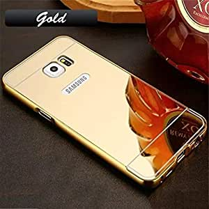 ARNAV Luxury Metal Bumper + Acrylic Mirror Back Cover Case For SAMSUNG GALAXY S7 (GOLD) PLATED