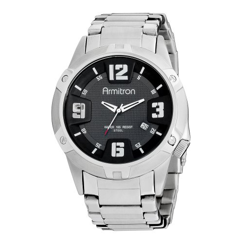 Armitron Men's 204692BKSV Stainless-Steel and Black Dial Dress Watch