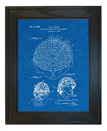 "Camouflaging Covering For Military Helmets Patent Art Blueprint Print in a Solid Pine Wood Frame (24"" x 36"")"