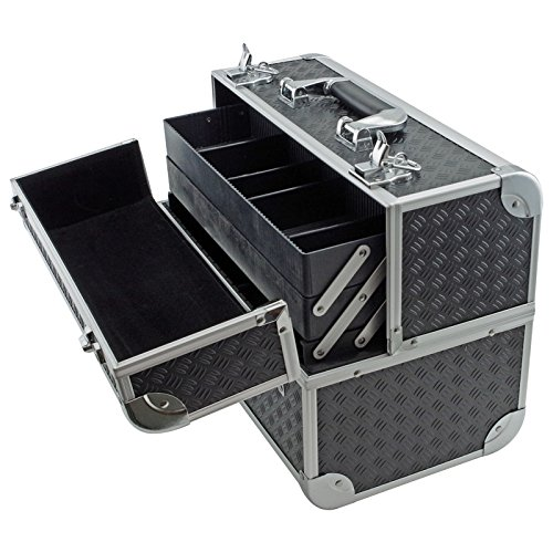 Black by SRA Cases SRA Cases EN-AC-FC-B086-BK Toolbox Fishing Tackle//Bait Case with Fold Out Trays 14.1 x 11 x 8.5