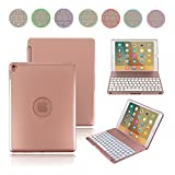 Boriyuan iPad Pro 9.7 Keyboard Case, Smart Aluminium Backlit Keyboard Folio Stand Cover For Apple iPad Pro 9.7 with 7 Colors Backlight Wireless Bluetooth Keyboard +Screen Protector+Stylus, Rose Gold
