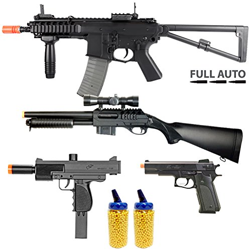 BBTac Airsoft Gun Package - Police Response Team Collection of 4 Airsoft Guns - Full Auto AEG Electric Rifle, Shotgun, SMG and Pistol, 4000 BB Pellets, Great for Starter Pack Game Play (Seal Team Seven 21 compare prices)
