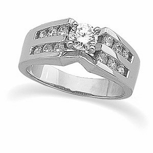 Ring Engagement Low Cost 14K White Gold Diamond Engagement Ring Ct