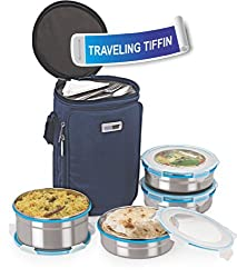 Steel Lock HL- 1541 Airtight JUMBO 4 pc Lock Steel Lunch / Meal / Tiffin Box with Insulated Bag
