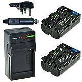 ChiliPower Sony NP-FM500H 1800mAh Battery 2-Pack + Charger (UK Plug) for Sony Alpha SLT-A57, A58, A65, A65V, A77, A77V, A99, A100, A200, A300, A350, A450, A500, A550, A560, A580, A700, A850, A900, Sony CLM-V55