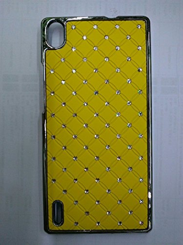 Maclogy 2014 Latest Fashion Design Luxury Dazzling Rhinestones Shiny Crystal Diamond Plating Protective Shell Trapped Difficult Cases Huawei P7 And Fashion Chain Crystal Ornaments Color Uv Radiation Gifts (Yellow)