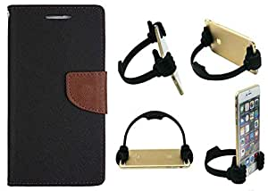 Novo Style Wallet Case Cover For Apple iPhone 4 Black + Ok Stand For Smartphones And Tablets