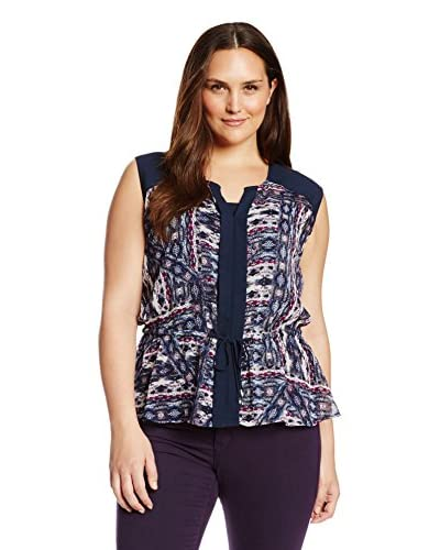 Vince Camuto Plus Women's Sleeveless Tie Front Tribal Blouse with Cami