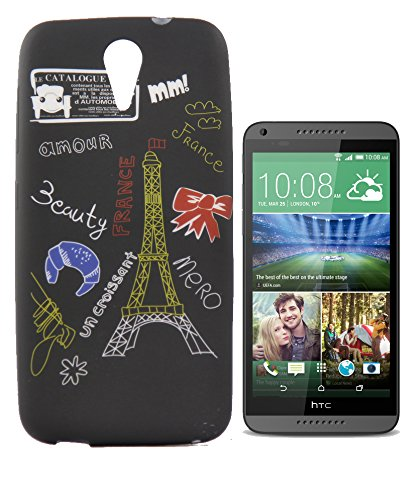 Exclusive Rubberised Back Case Cover For HTC Desire 620G Dual Sim - Effiel Tower