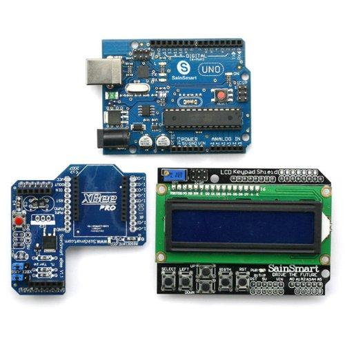 Sainsmart Uno, Atmega328P + Sainsmart Lcd Keypad Shield + Sainsmart Xbee Shield For Arduino Uno Mega Duemilanove