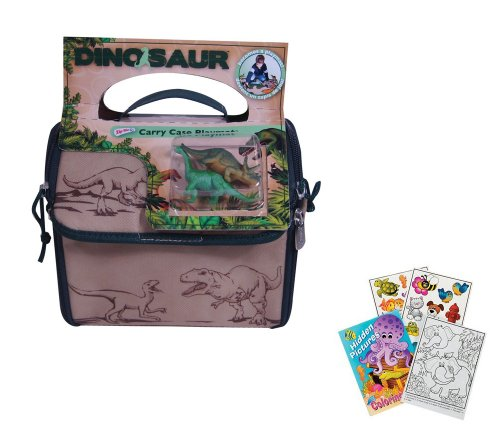 ZipBin Dinosaur Explorer Carrier Tote & Playmat with 2 Toy Dinosaurs & Coloring Book