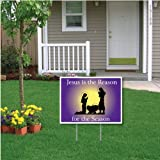 """Jesus Is the Reason for the Season"" Christmas Lawn Display (Purple Manger)- 18''x24'' Yard Sign Decoration"