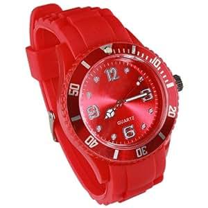 Montres couleurs tendances - MIXTES - 24 COLORIS ET PLUSIEURS TAILLES - Pochette cadeau LovaLuna offerte - Par LovaLunaTM - Petit Modèle - Rouge Taille S (cadran 3,8 cm)