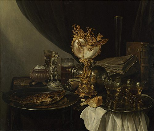 high quality polyster Canvas ,the High Resolution Art Decorative Canvas Prints of oil painting 'Gerrit Willemsz. Heda Still Life with a Nautilus Cup ', 12 x 14 inch / 30 x 36 cm is best for Laundry Room gallery art and Home decoration and Gifts