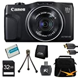 PowerShot SX700 HS 16.1MP HD 1080p Digital Camera Black Ultimate Kit Includes Camera, memory card, battery, gadget bag, HDMI cable, card reader, memory card wallet and mini tripod