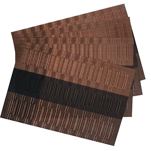 SHACOS Exquisite PVC Placemats Woven Vinyl Place Mats for Table Heat-Resistant Brown Mats (6, Ombre Coffee and Black)
