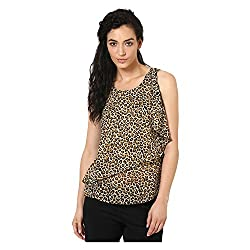 Kaxiaa Polyester Beige Top For Women (Size-Small)