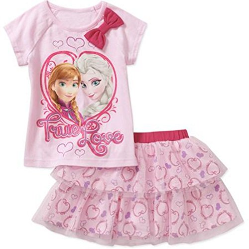Disney Frozen Toddler Girl Elsa and Anna Pink Tee & Skirt Outfit Set Size 5T