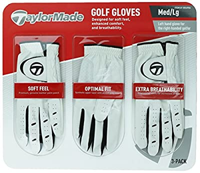TaylorMade Men's Golf Gloves, Leather Palm Patch, 3 Pack