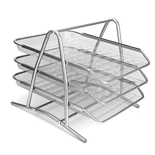 Design Ideas Mesh Letter Tray: Letter Trays Stacking Supports 3-Tier Steel Mesh Office