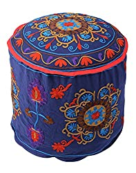 Designer Ottoman Blue Cotton Floral Embroidered Pouf Cover By Rajrang