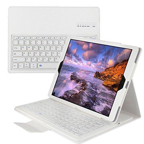 ikodoo Apple iPad Proケース キーボード 分離可能全4色iPad Proライチ紋専用 Bluetooth3.0搭載 ワイヤレスブルートゥースキーボードケース、キーボード付き 高級PUレザーケース自動スリープ機能付きとスタンド機能付き Bluetooth keyboard case (ホワイト)