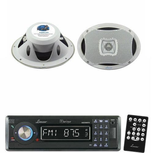 Lanzar Marine Receiver And Speaker System Package For Your Boat, Pool, Deck, Patio, Etc. - Aqcd60Btb Am/Fm-Mpx In-Dash Marine Detachable Face Radio Cd/Sd/Mmc/Usb Player & Bluetooth Wireless Technology - Aq69Cxw 500 Watts 6''X9'' 2-Way Marine Speakers (Whi