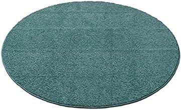 洗える防ダニ シャギー円形ラグ 直径180cm ターコイズ 1511000425M21