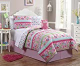 7 Pc Reversible, Pink, Owl Comforter Set, Bed in a Bag, Twin Size Bedding, By Karalai Bedding Collection