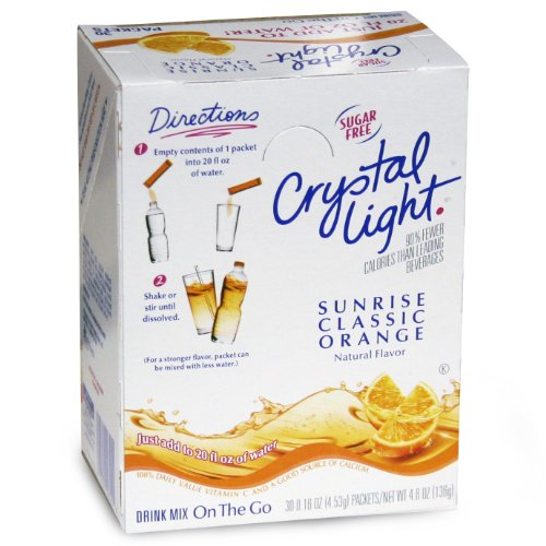 Crystal Light On The Go Sticks - 20oz Water Bottle Size - 30ct Boxes (Pack of 4) - Sunrise Classic Orange (Single Serve Orange Juice compare prices)