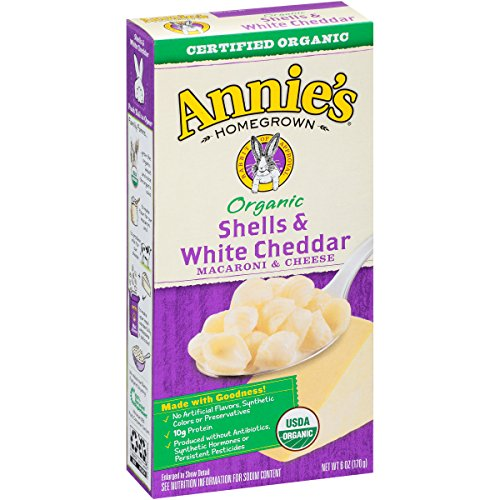 Annie's Homegrown Organic Shells with White Cheddar Mac & Cheese, 6-Ounce Boxes (Pack of 12) (Box Mac And Cheese compare prices)