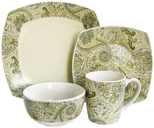 Waverly 16-Piece Paddock Shawl Dinnerware Set, Ivory