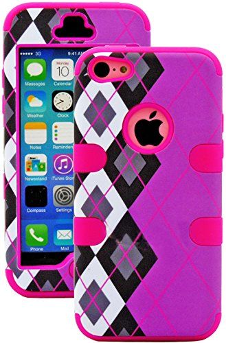 Mylife (Tm) Hot Pink + Black Argyle Plaid 3 Layer (Hybrid Flex Gel) Grip Case For New Apple Iphone 5C Touch Phone (External 2 Piece Full Body Defender Armor Rubberized Shell + Internal Gel Fit Silicone Flex Protector + Lifetime Waranty + Sealed Inside Myl