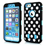 Meaci® Cellphone Case for Iphone 6 Plus 5.5 Inch Case 3 in 1 Combo Hybrid High Impact Body Armorbox Hard Pc&silicone Protective Bumper Case with Polka Dots Luxury Print (sky blue Polka dots)
